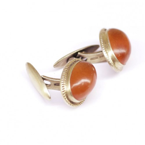 Genuine Vintage Russian Soviet Union  Baltic Amber Cuff-links Sterling silver 875 hall mark
