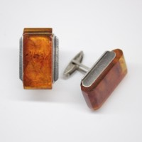 Genuine Vintage Russian Soviet Union Light Cognac Baltic Amber Cufflinks Sterling silver 875 hall mark