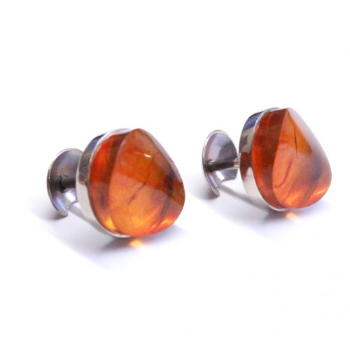 Russian Soviet Union Light Cognac Baltic Amber Cufflinks With Manufacturer Tag 87