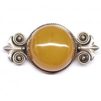 Antique Vintage USSR Period Butterscotch Pressed Baltic Amber Brooch 20