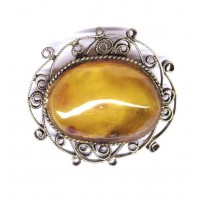 Antique Vintage USSR Period Butterscotch Baltic Amber Brooch / Pin 30