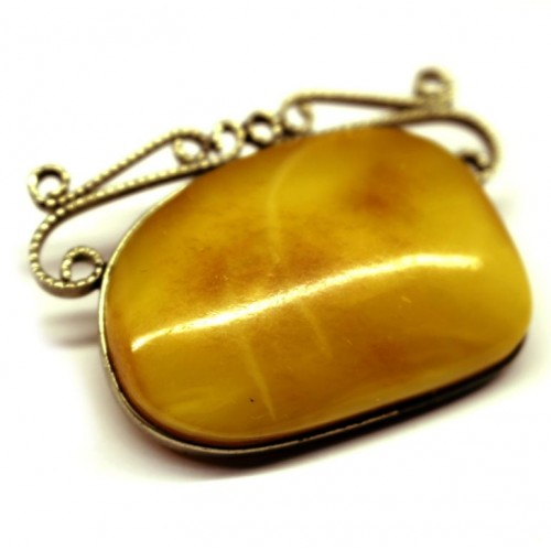 Antique Vintage USSR Period Butterscotch Baltic Amber Brooch / Pin 49