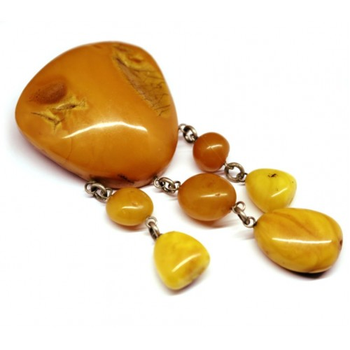 Antique Vintage USSR Period Butterscotch Baltic Amber Brooch / Pin 56