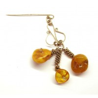 Antique Vintage USSR Period 60's Butterscotch Baltic Amber Pin 57