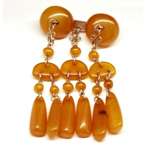 Antique Vintage USSR Period Butterscotch Baltic Amber Brooch / Pin 68