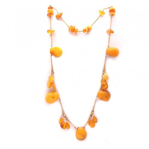 Vintage Baltic Natural Amber Necklace Butterscotch and Honey Color 60's