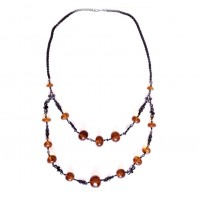 Russian 70's Necklace With Cognac Color Pressed Baltic Amber Stones