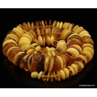 Vintage Bottons Style Polished Baltic Amber Beads Necklace Multicolor 73g  cm 63 / 25″