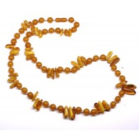Vintage Baltic Reconstructed And Natural Amber Beads Necklace Butterscotch 78g