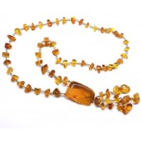 Russian 70's Necklace Natural Honey Color Baltic Amber Stones