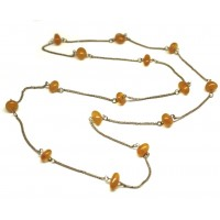 Russian 70's Necklace Butterscotch Color Baltic Amber Stones