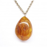 Vintage Russian Light Cognac Color Baltic Amber Pendant