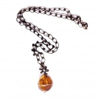 Vintage Russian Baroque Style Light Cognac Color Baltic Amber Pendant