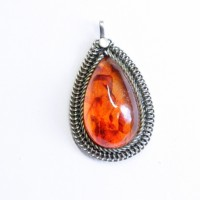 Genuine Vintage Russia 1960's Honey Color Baltic Amber Pendant 58