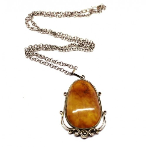 Genuine Vintage Russia 1960's Butterscotch Egg Yolk Baltic Amber Pendant 62