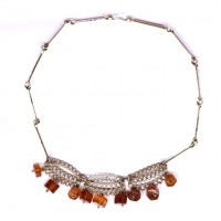 Russian 70's Necklace With Honey Color Baltic Amber Stones
