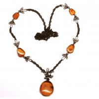 Russian 70's Necklace With 29 Natural Honey And butterscotch Color Baltic Amber Stones