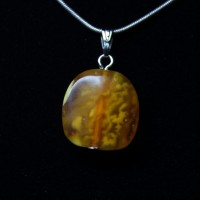 Small Vintage Drop shape Butterscotch Color Baltic Amber Pendant 83