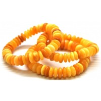 3 Vintage Unpolished Egg Yolk Baltic Amber Adult Elastic Bracelet 39.20g