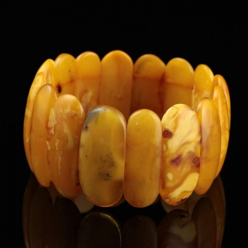 Anitique Vintage EGG YOLK pieces Baltic amber stretch bracelet