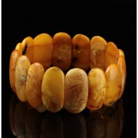 Antique Vintage EGG YOLK pieces Baltic amber stretch bracelet 26