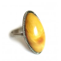 Soviet-era USSR Ring With Egg Yolk Color Amber size