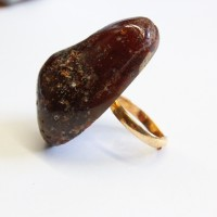 Soviet-era USSR Ring Golden Color With Dark Cognac Color Baltic Amber