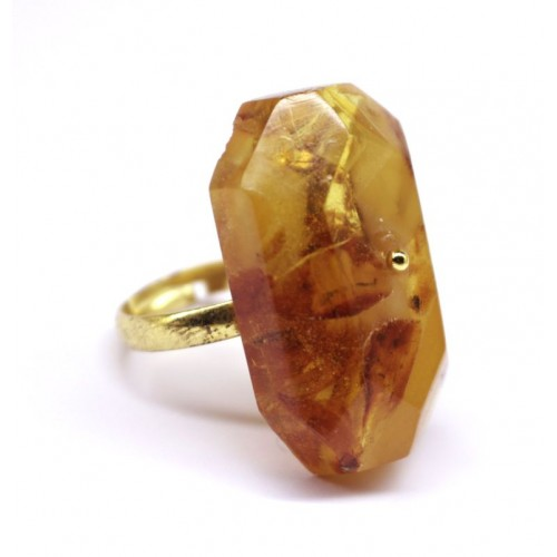 Soviet-era USSR Ring Golden Color With Honey Color Pressed Baltic Amber 91