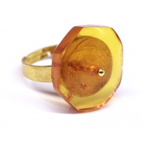 Soviet-era USSR Ring Golden Color With Honey Color Baltic Amber 92