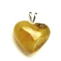 Butterscotch Egg Yolk Color Baltic Amber Heart Shaped Pendant 24c