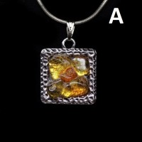 Polished Lemon Color Baltic Amber Pendant MOSAIC