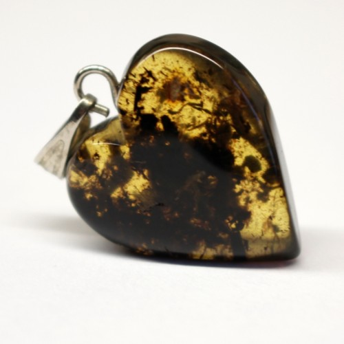 Greenish Color Baltic Amber Heart Shaped Pendant  With Plants Inclusions