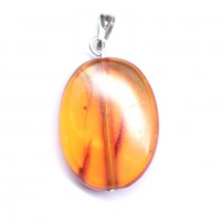 Vintage Antique Baltic Amber Pendant Cognac Color 12