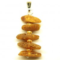 Small Cognac Color Raw Baltic Amber Pendant