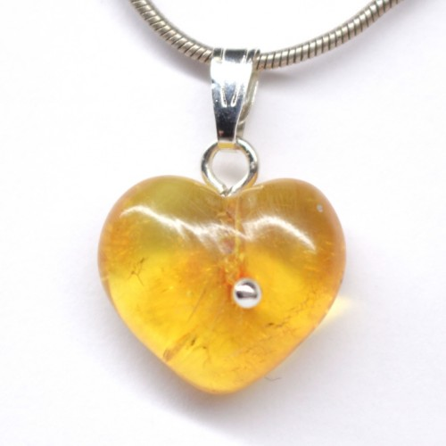 Small Honey Color Baltic Amber Heart Shaped Pendant