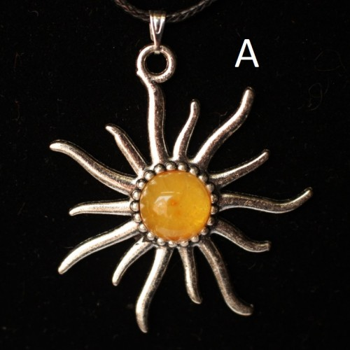 "Polished Lemon Color Baltic Amber Pendant ""Sun"""