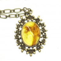 Polished Honey Color Baltic Amber Pendant 40B