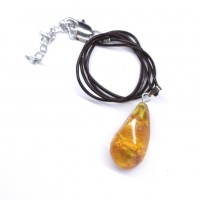 Baltic Amber Pendant Honey Color With Plants Inclusions 44