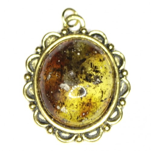 Polished Light Green Shade Color Baltic Amber Pendant With Plant Inclusions