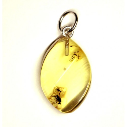Baltic Amber Pendant Lemon Color With Insect Inclusion