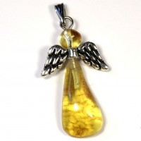 "Honey Color Baltic Amber Amulet Pendant ""Guardian Angel"""