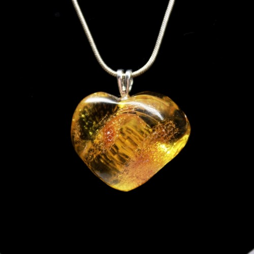 Baltic Amber Heart Shaped Pendant Honey Color With Insect Inclusion