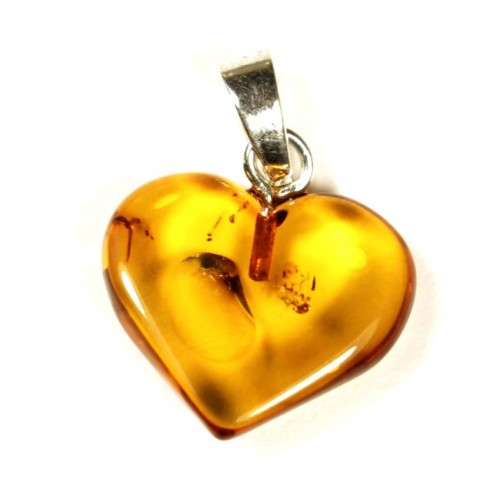 Cognac Color Baltic Amber Heart Shaped Pendant 70